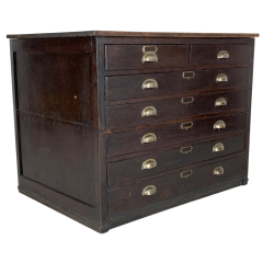 1940S Oak Plan Chest With Metal Cup Handles