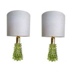 RARE PAIR OF BAROVIER & TOSO GREEN ROSTRATO GLASS LAMPS WITH BRASS FITTINGS