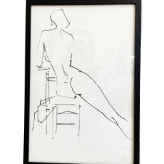 A 1960's French Pen on Paper Life Study H965