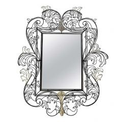 STUNNING WIRE FRAMED MIRROR BY ANACLETO SPAZZAPAN FINISHED IN BLACK AND GOLD