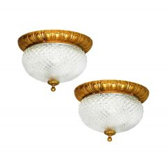 Pair of Flush Mount Ceiling or Wall Lights c1960 France