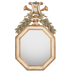 Octagonal Mirror with Lyre