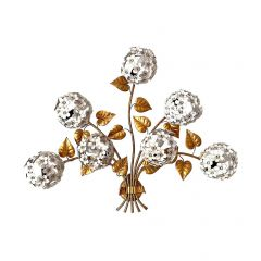WONDERFUL 1950S HYDRANGEA WALL LIGHT WITH SEVEN LIGHTS BEHIND THE FLOWERS
