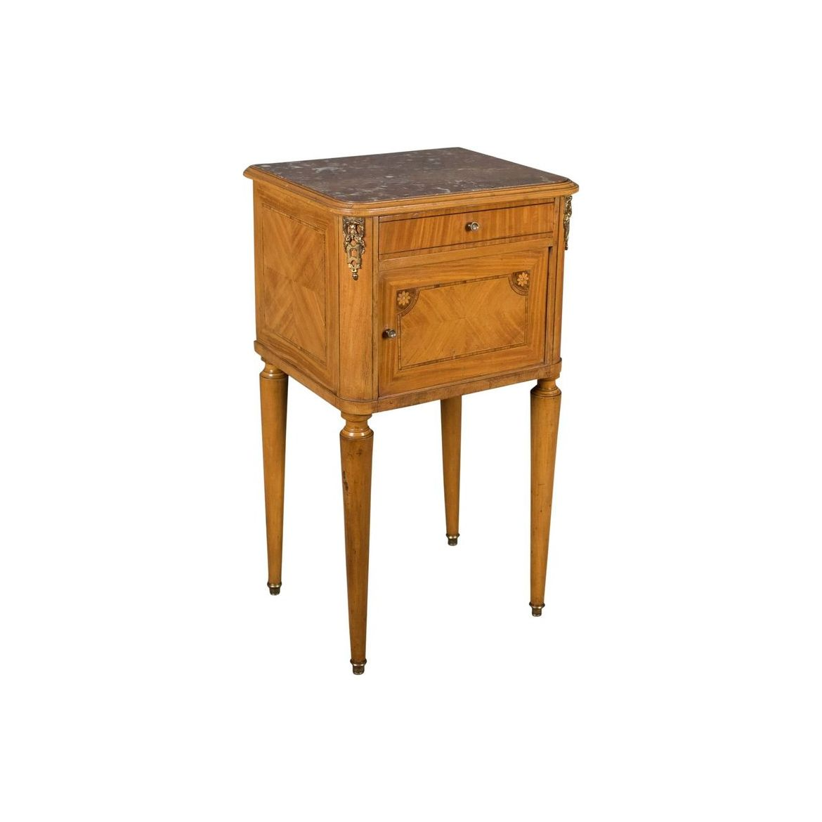 French Antique Bedside Cabinet Marble Top Nightstand C 1890