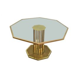1970s Octogonal Brass and Glass Design Coffee Table