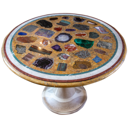 A circular Italian specimen marble and scagliola table top