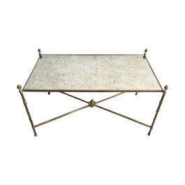 1940s Bamboo Bronze and Brass Neoclassical Coffee Table by Maison Bagués