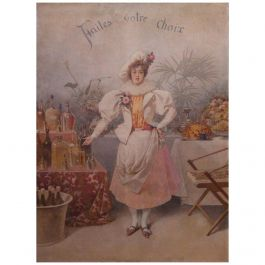 Large French Naive Painting Primitive Shop Publicity Late 19th Century
