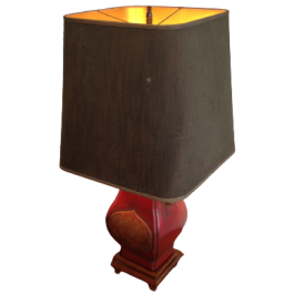 Chinese Style Red Lacquered Ceramic Table Lamp