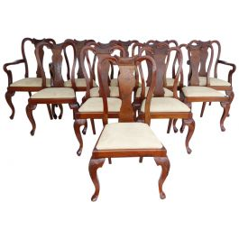 12 Queen Anne Style Walnut Dining Chairs