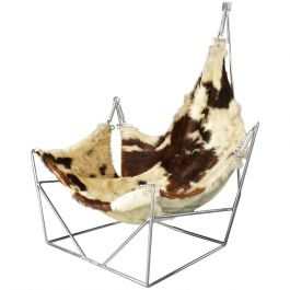 1960s Rare Sculptural Cowhide Sling Lounge Chair By Pierre Paulin