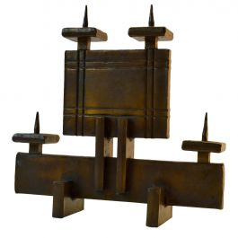 Brutalist Geometric Candelabra for Four Candles
