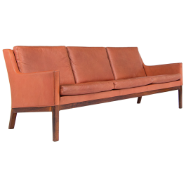 Danish Modern Sofa in Leather & Rosewood by Kai Lyngfeldt Larsen, Danish 1950's