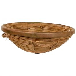 Mid-Century Modern Weaved Basket with Brass Accents, after Arthur Umanoff