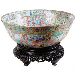 Important 21 inch Chinese Export Canton Porcelain Punch Bowl