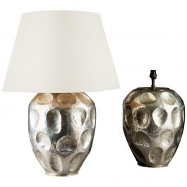 Pair of Large Anamorphic Silvered Metal Table Lamps