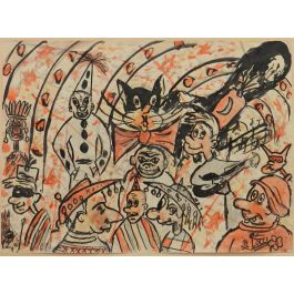Bruno LocciCarnival Sketch by Bruno Locci Italian 20th Century Painter 1937-2010c1950-60
