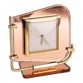 French Art Deco Clock with Peach Mirrored Glass by Bayard