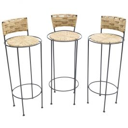 Set of 3 French Bar Stools Rope and Metal by Audoux Minet, 1950s