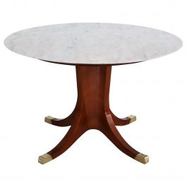 Italian Midcentury Pink Marble and Rosewood Dining Table, 1950s