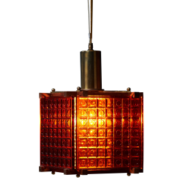 Mid-Century Danish Orange Crystal Pendant