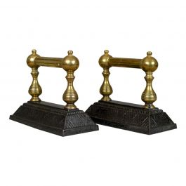 Antique Fireside Tool Rests, Victorian, Brass, Iron, Classical Revival