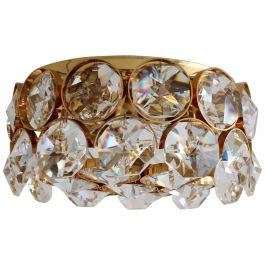 Gilded Ceiling Lamp with Crystal Glass by Palwa, 1960s