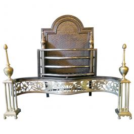 Antique English Brass and Wrought Iron Fire Grate