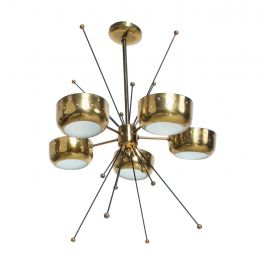 Mid-Century Modern Sputnik Italian Chandelier in Brass Pavo Tynell Attributed #2