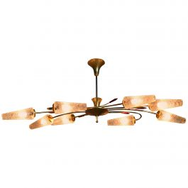 Extraordinary Eight-Light Brass / Coned Glass Chandelier by Eon, 1950s