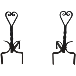 Pair Of Twisted Wrought Iron Andirons. French.