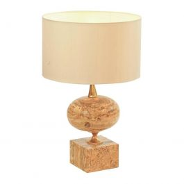 Hand-Carved Travertine Table Lamp