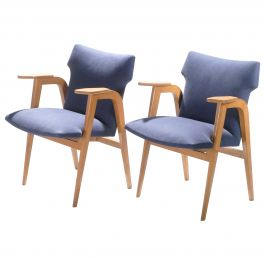 French Midcentury Oak Compass Armchairs by Roger Landault, 1950s