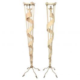 Modern Pair of Metal Torchère Floor Lamps after James Mont