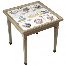 Late 19th Century Tile-Top Table with Green Painted Frame and Brass Sabots