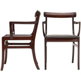Pair of Scandinavian Mahogany Armchairs by Ole Wanscher for Poul Jeppesen