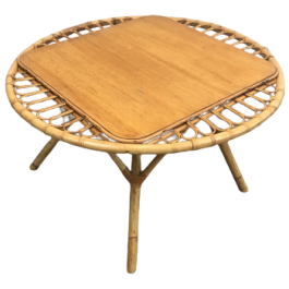 ROUND RATTAN COFFEE TABLE. FRENCH. CIRCA 1970