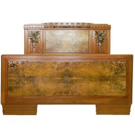 Art Deco Bed French Attributed to Sue et Mare Carved Walnut, circa 1930s
