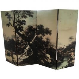 Italian Folding Screen with Bucolic Colored Transfer Painting from 1950s