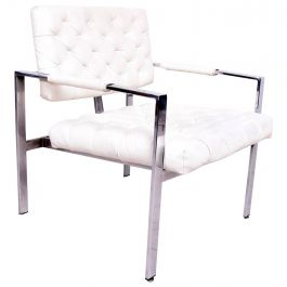 Milo Baughman Armchair Chrome and Tufted Naugahyde Thayer Coggin Mid-Century
