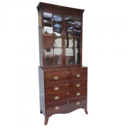 Small Regency Mahogany Secretaire Bookcase