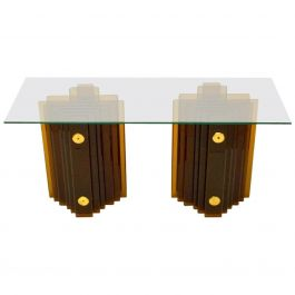 Italian 1970's Amber Glass Console Table by Cristal Arte