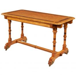 Arts & Crafts Satinwood Writing Table by Marsh and Jones