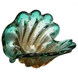Unique Seguso Bullicante Bubble Murano Glass Shell Bowl Vase, Italy, 1970s