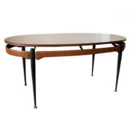 Italian Dining Table with Floating Sunburst Top, 1950s