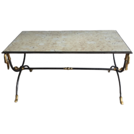 BRUSHED STEEL & BRASS COFFEE TABLE WITH SWANHEADS