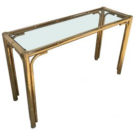 Mid-Century Modern Italian Faux Bamboo Brass Finished Console with Smocked Glass