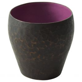 Vintage Modern Hammered Copper Purple Enamel Small Vase by Raul Bellery