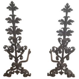 BEAUTIFUL PAIR OF WROUGHT IRON ANDIRONS