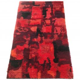 Original Abstract Scandinavian High Pile Pop Art Rya Rug Carpet, Finland, 1960s